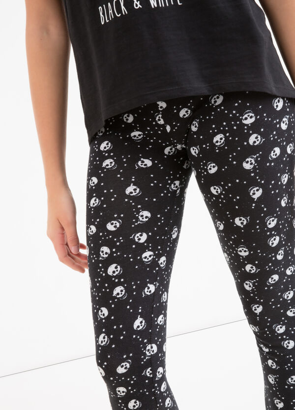 Stretch cotton leggings with Teen print | OVS