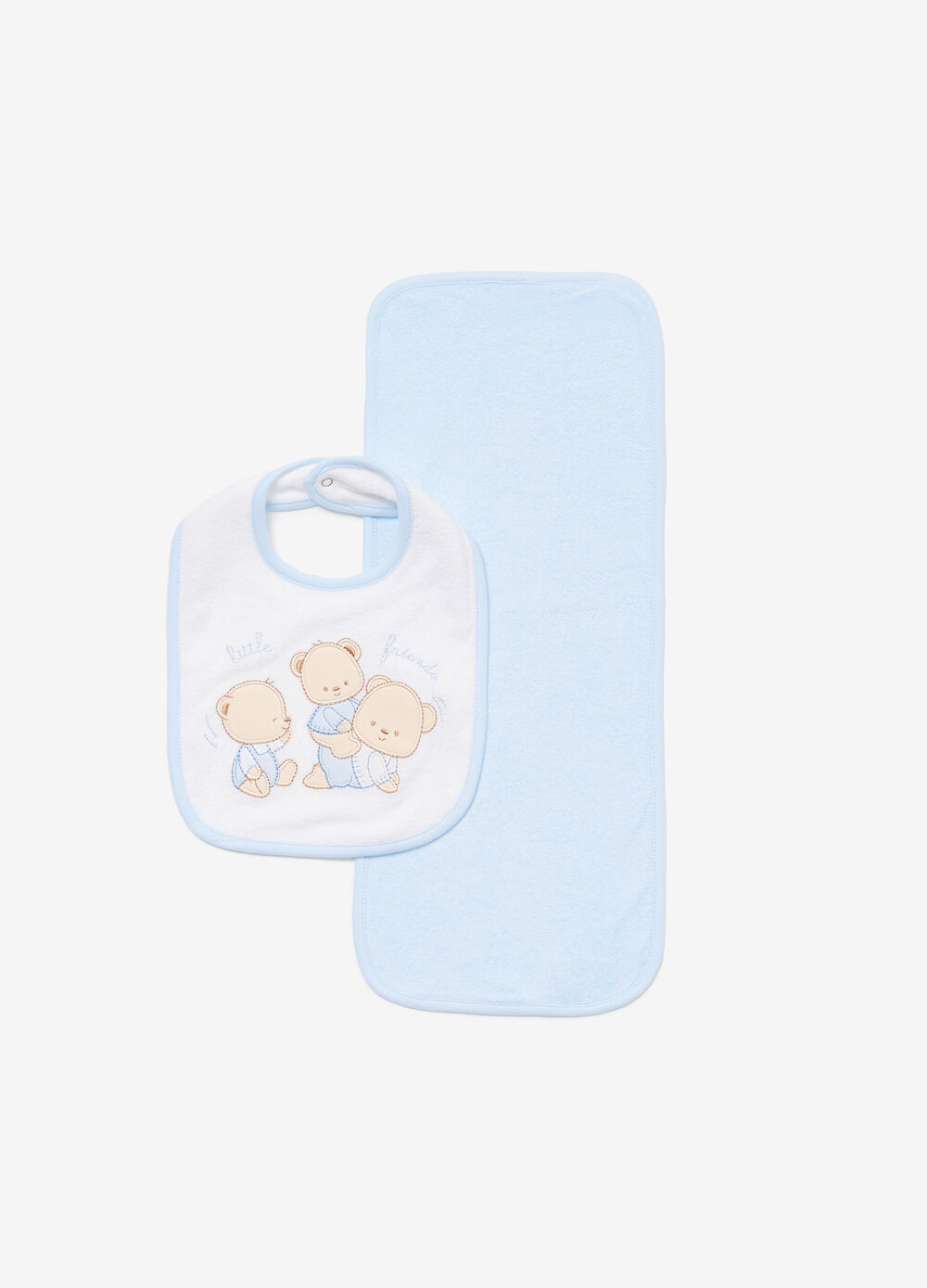 Two-pack cotton bibs with teddy bear patch