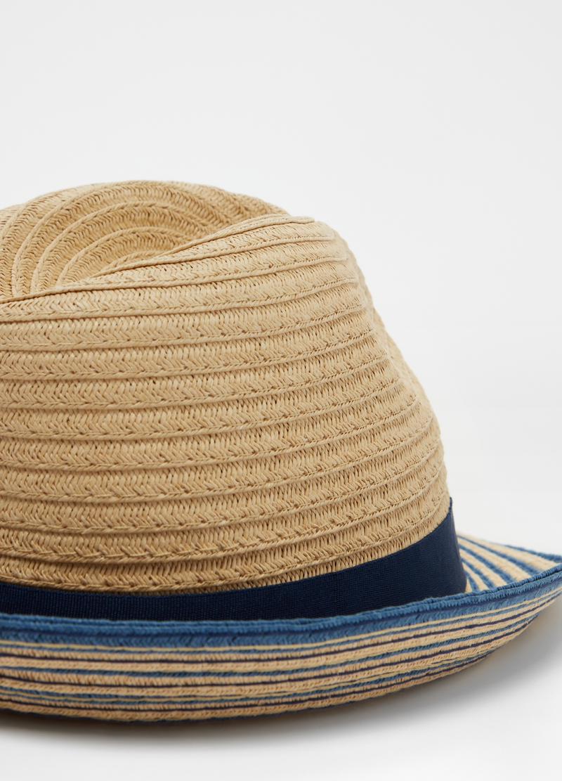 Straw-effect hat with ribbon image number null