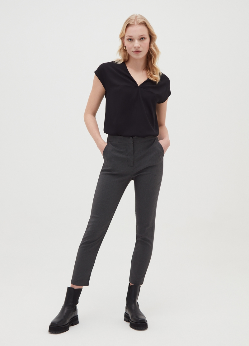 Stretch trousers with micro check pattern image number null