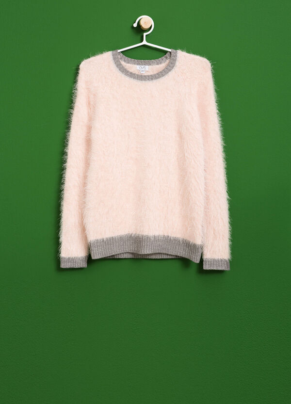 Frayed pullover with glittered ribbing | OVS