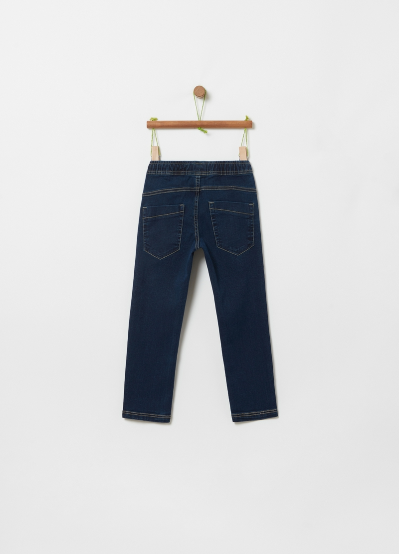 Pantaloni jogger in denim con coulisse image number null