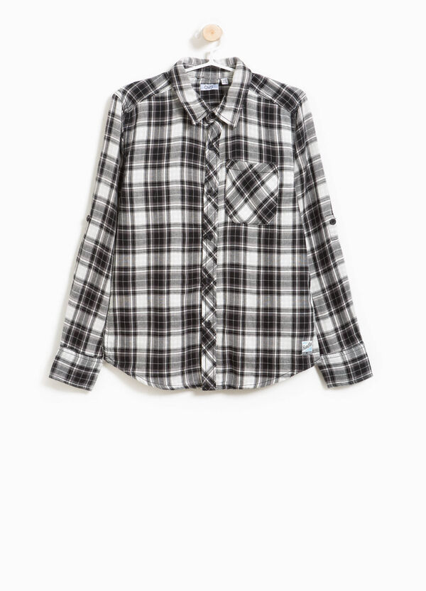 Tartan flannel shirt with pocket