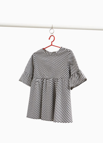 Micro check blouse with flounce