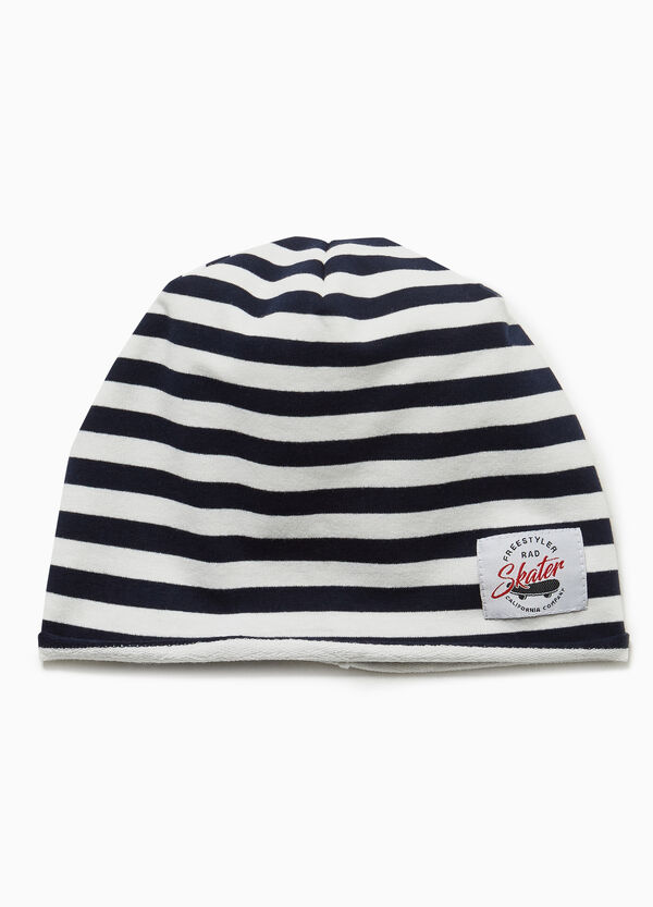 Striped beanie cap with patch
