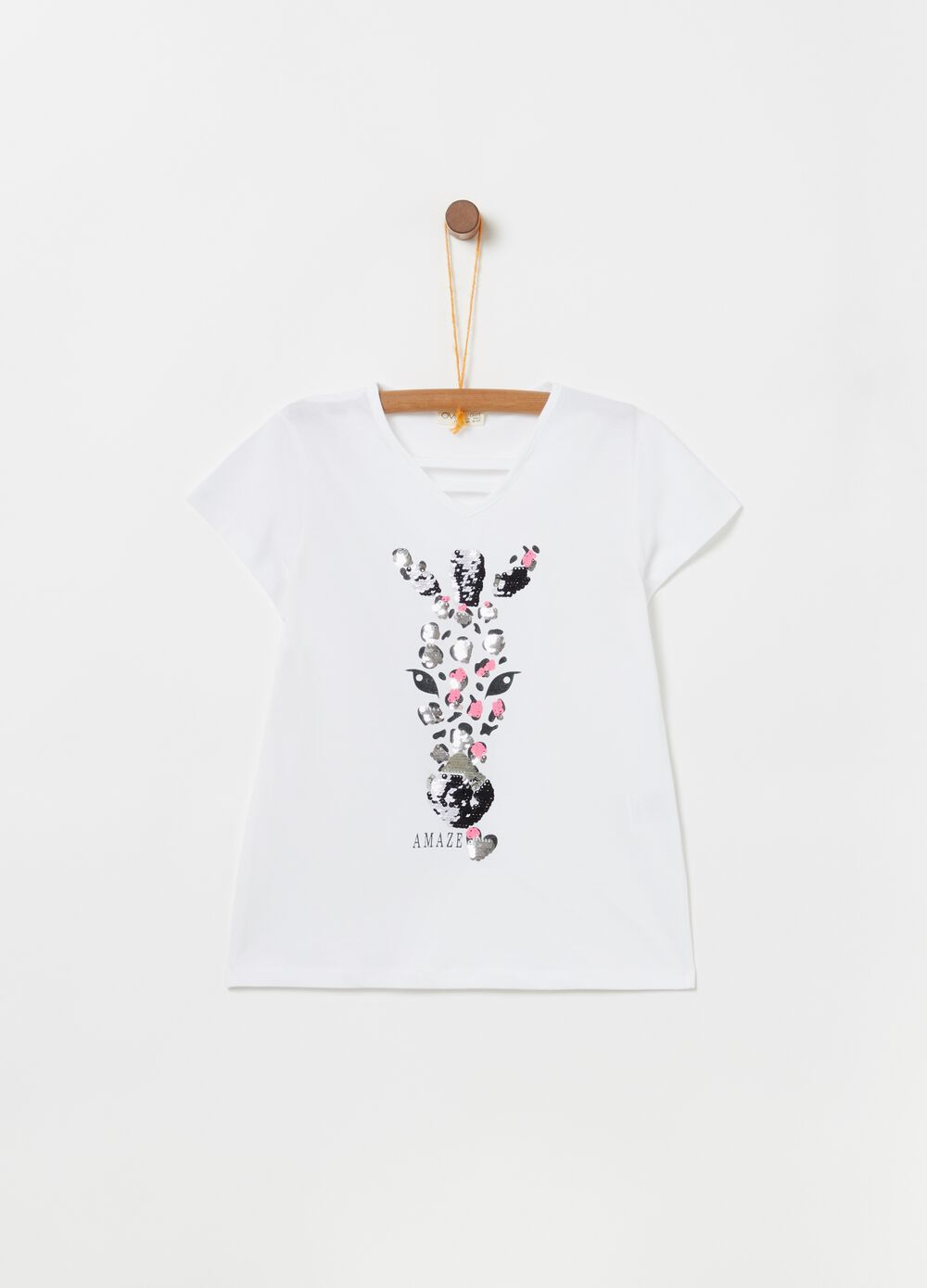 V-neck T-shirt in 100% cotton with sequins