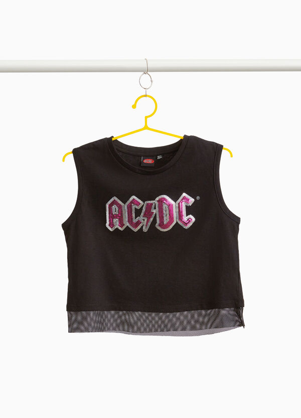 Crop top with mesh and sequin lettering