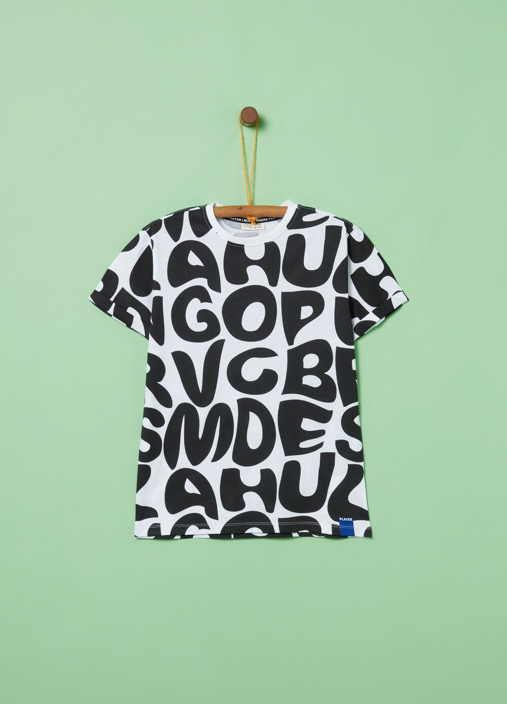 T-shirt puro cotone stampa lettering all-over