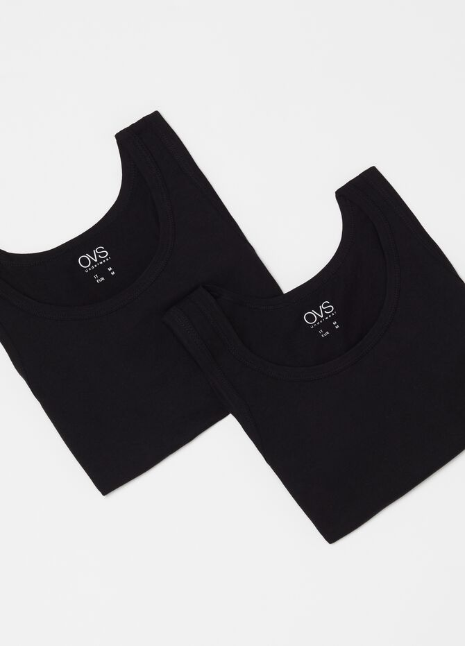 Two-pack racerback tops in 100% cotton