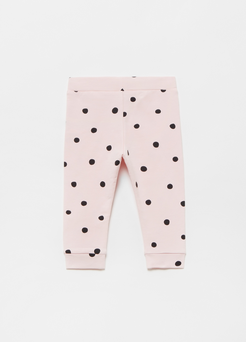 Joggers in cotone stretch a pois image number null