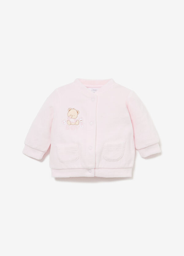Cotton blend sweatshirt with embroidery and patch