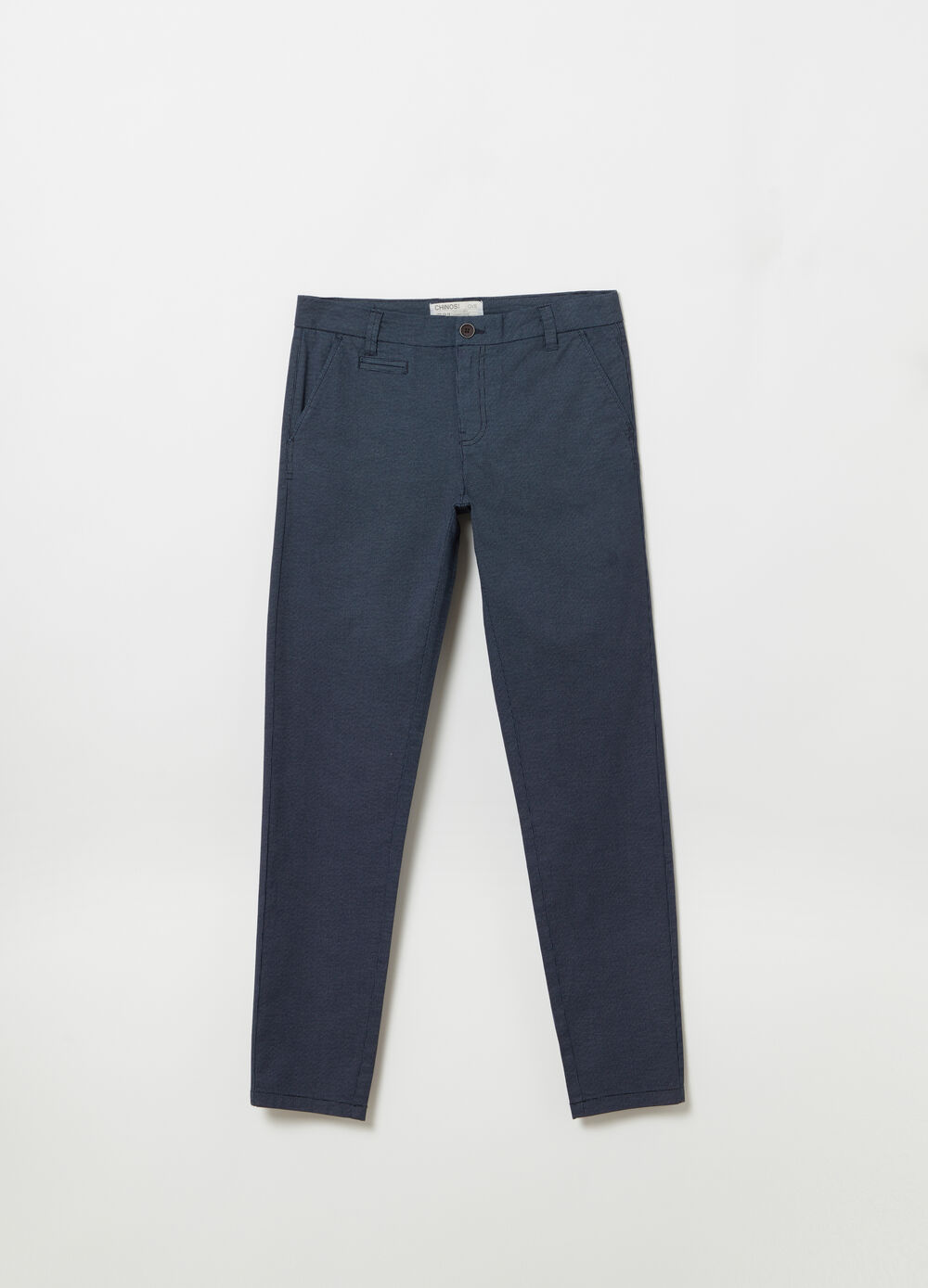 Slim-fit chino trousers in stretch twill with micro pattern