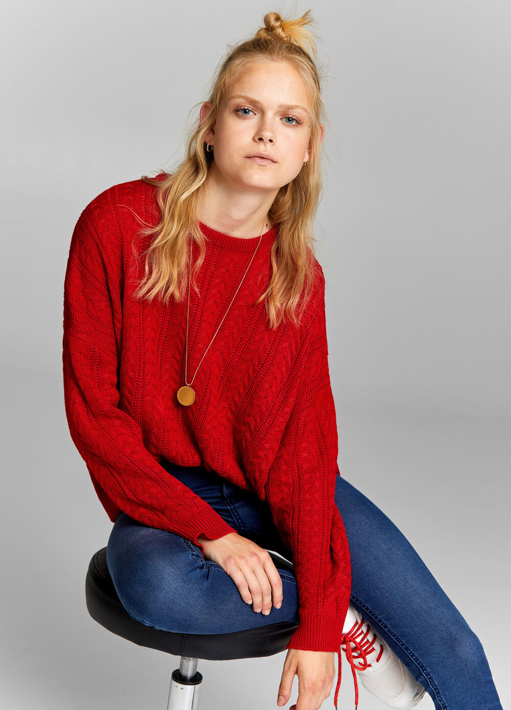 Knitted over-fit pullover