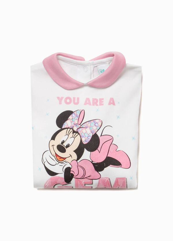 Minnie Mouse patterned cotton sleepsuit