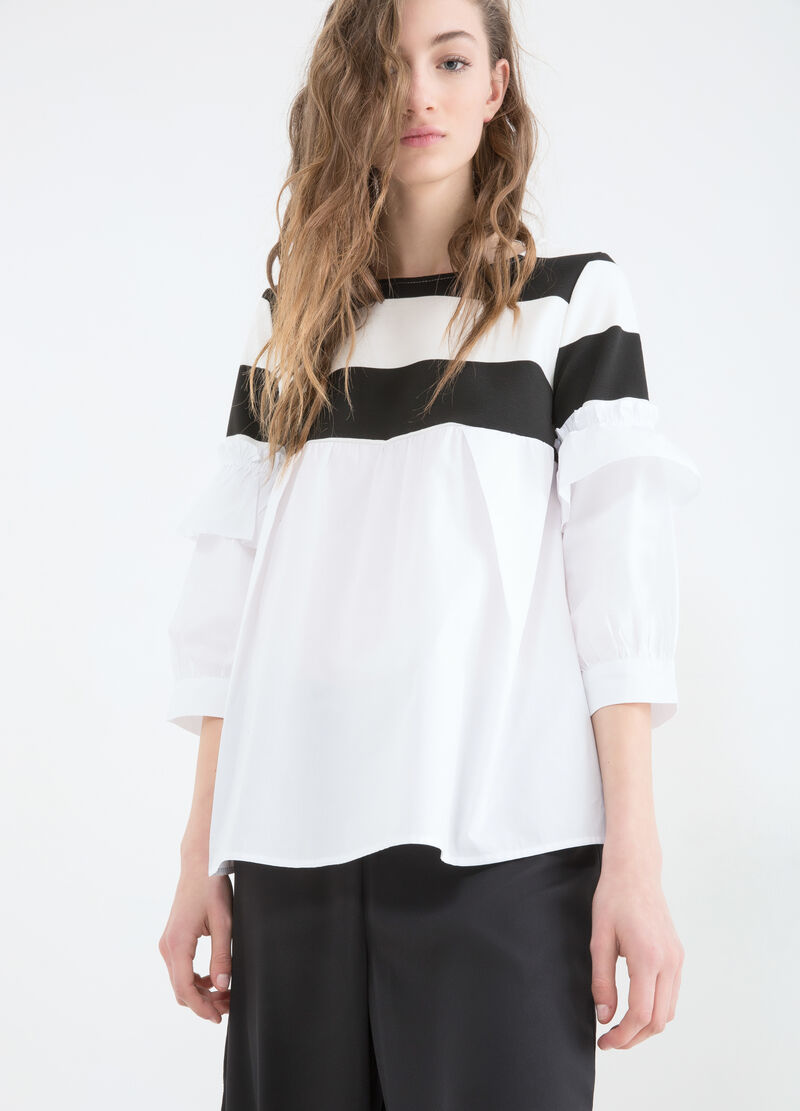 Patterned blouse with contrasting colour stripes