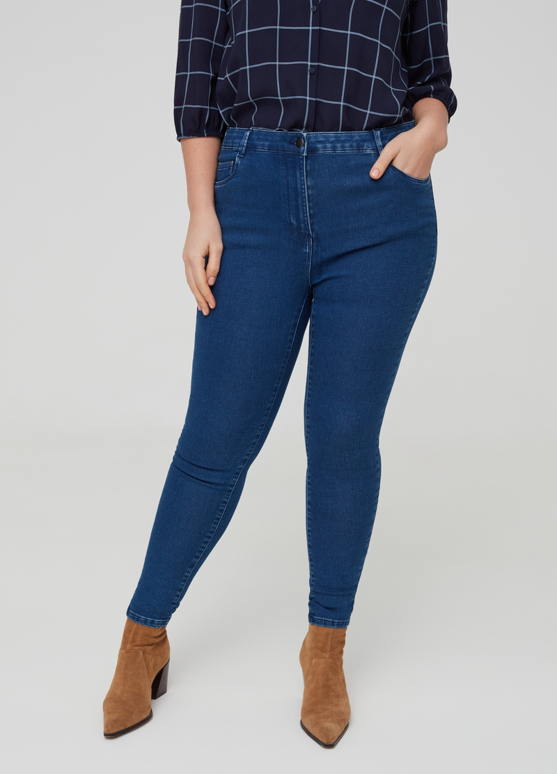 Curvy skinny-fit stretch jeans image number null