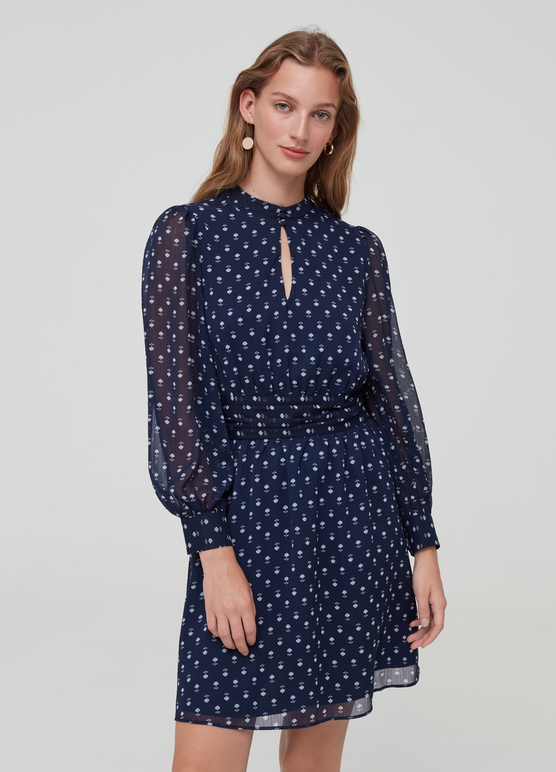 Semi-sheer dress with puff sleeves image number null
