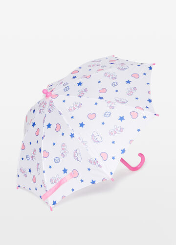 Heart and unicorn patterned umbrella