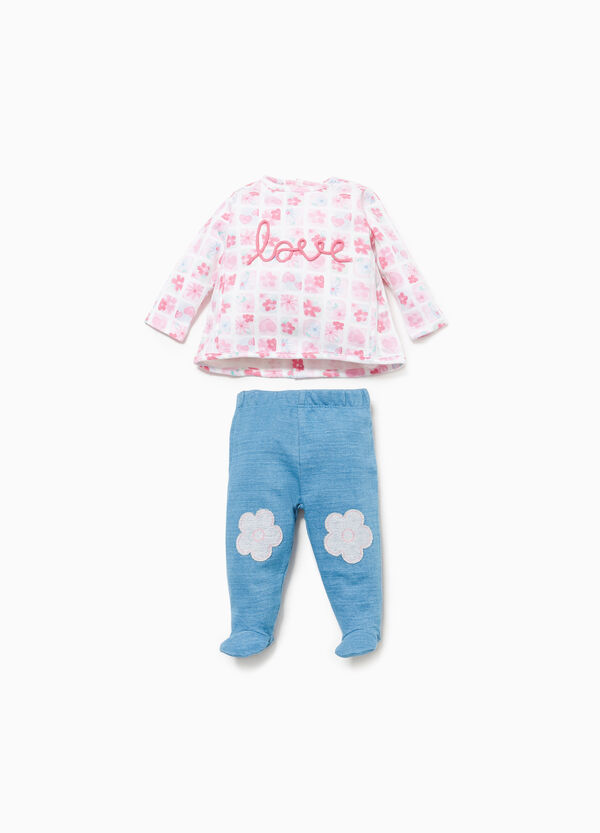 Floral T-shirt and baby leggings set