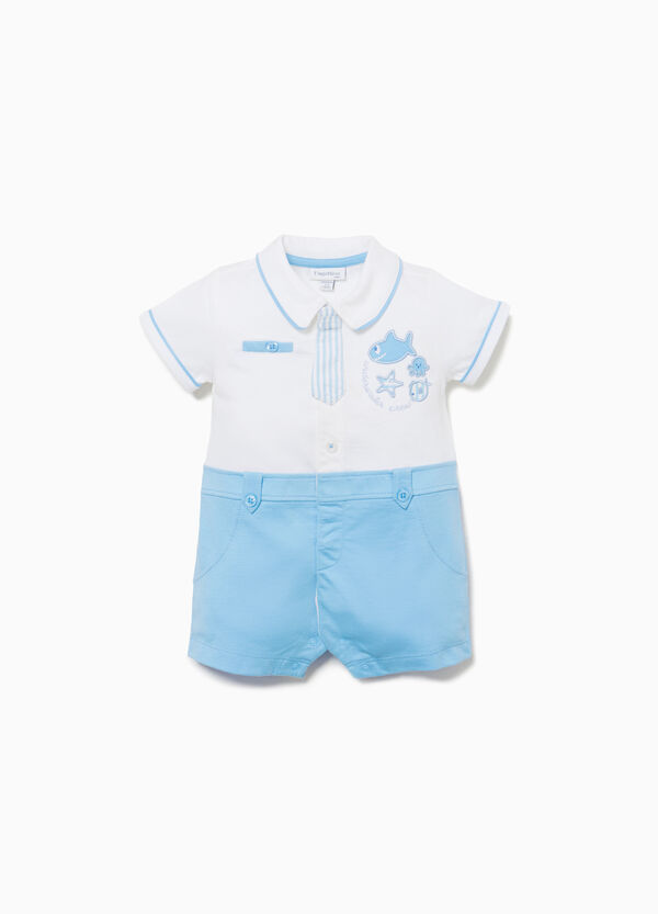 Romper suit in cotton with trim and patches