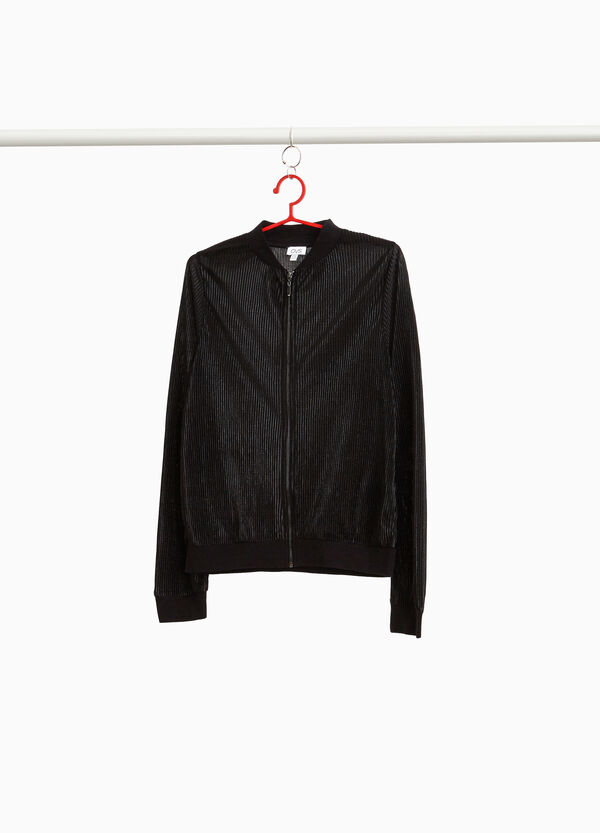 Pleated bomber jacket with round neck