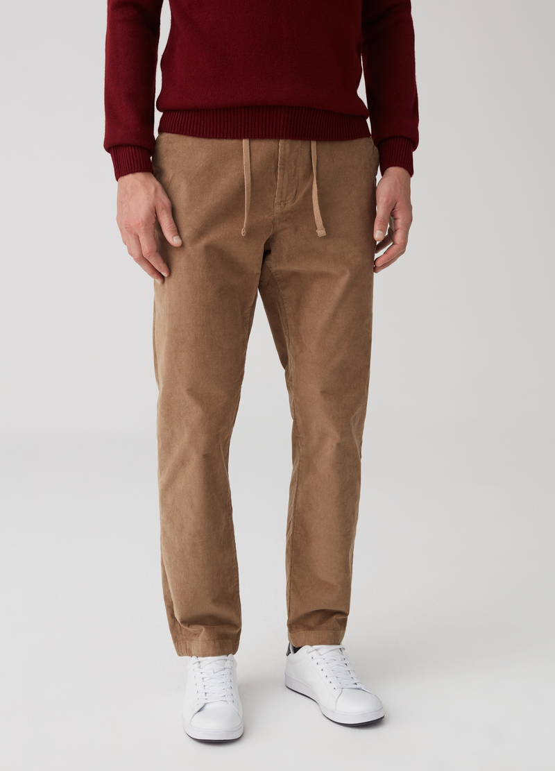 Corduroy trousers with pockets image number null