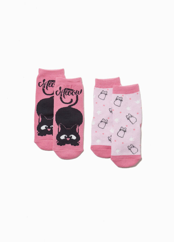 Two-pair pack cats slipper socks