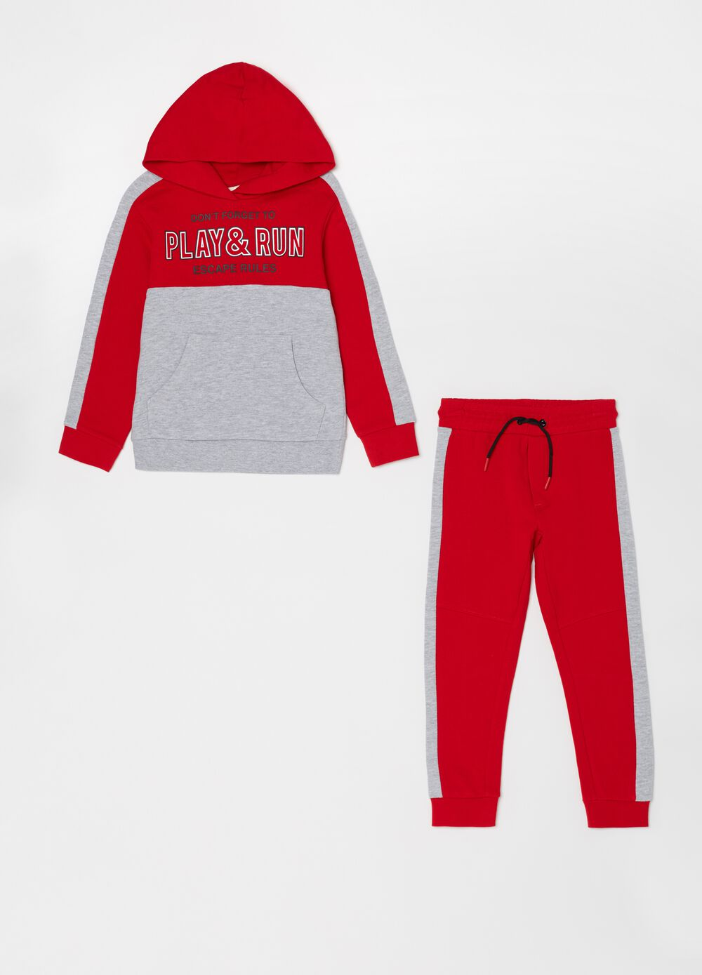 Jogging set consisting of sweatshirt and trousers in 100% cotton