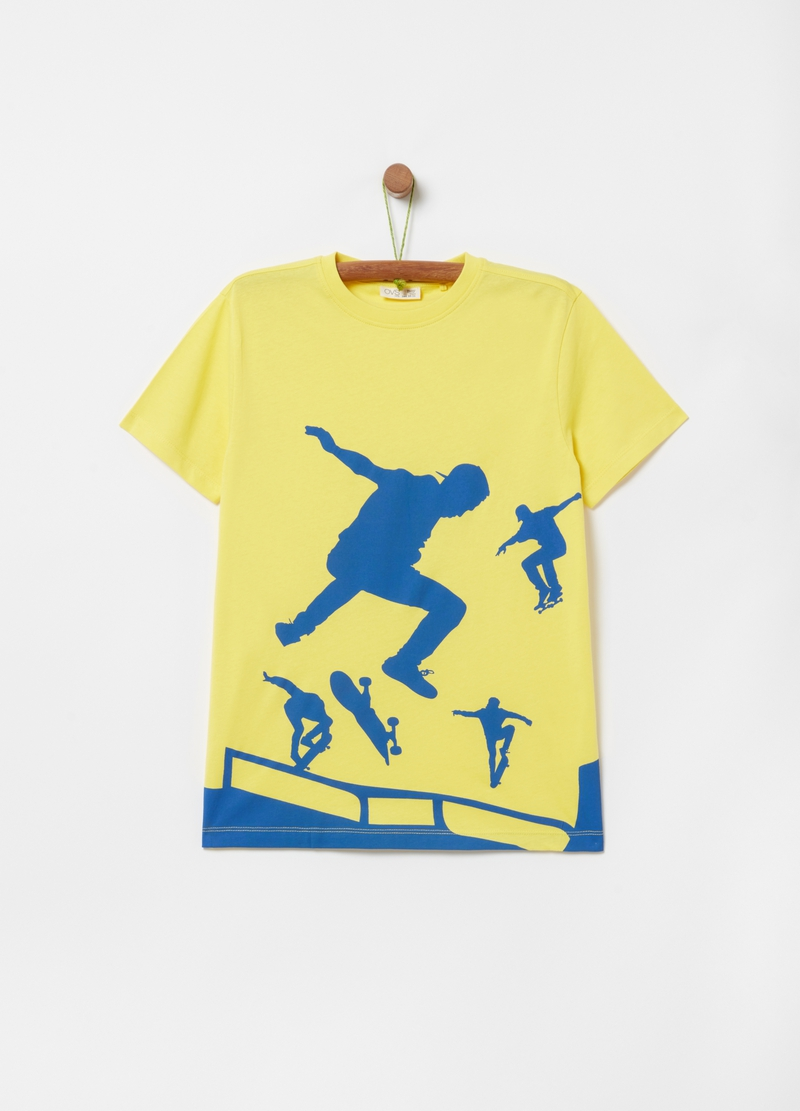100% cotton T-shirt with skaters print image number null