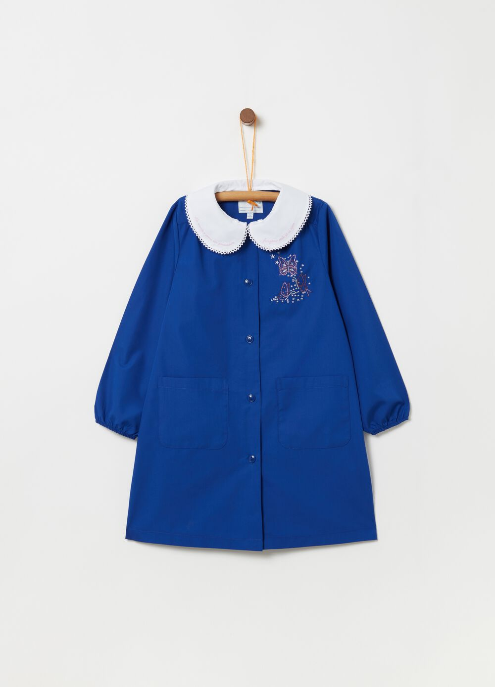 Embroidered school smock with applications