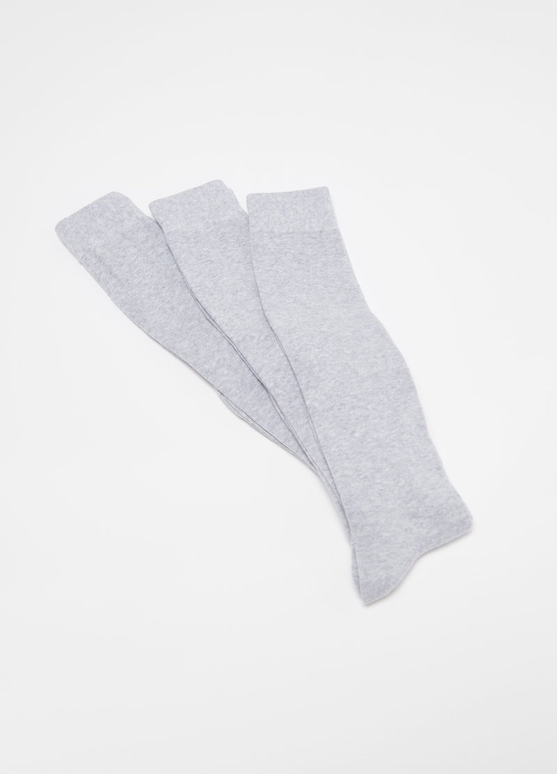 Three-pair pack long socks in cotton blend image number null
