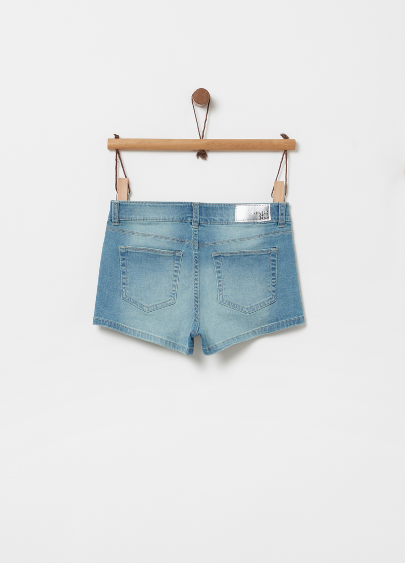 Denim shorts with adjustable waist, studs and pockets image number null