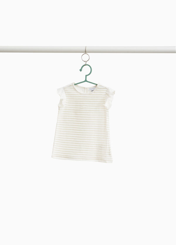 Stretch cotton T-shirt with striped lurex