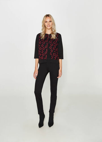 Viscose blend blazer with floral embroidery