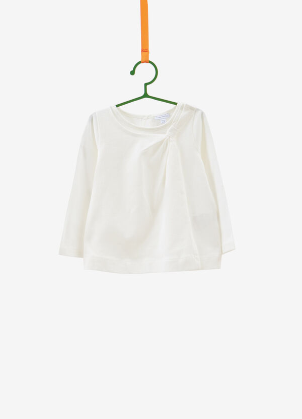 Stretch cotton T-shirt with bow