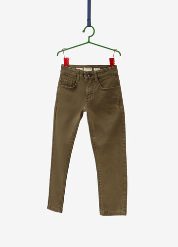 Solid colour stretch cotton chino trousers