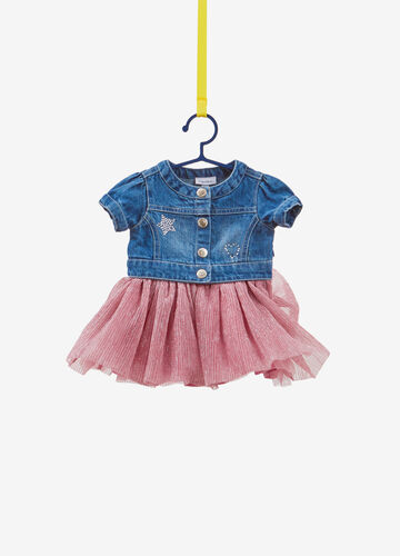 Denim dress with pleated skirt