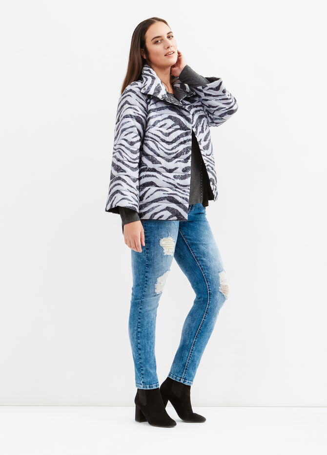 Curvy animal print down jacket with high neck