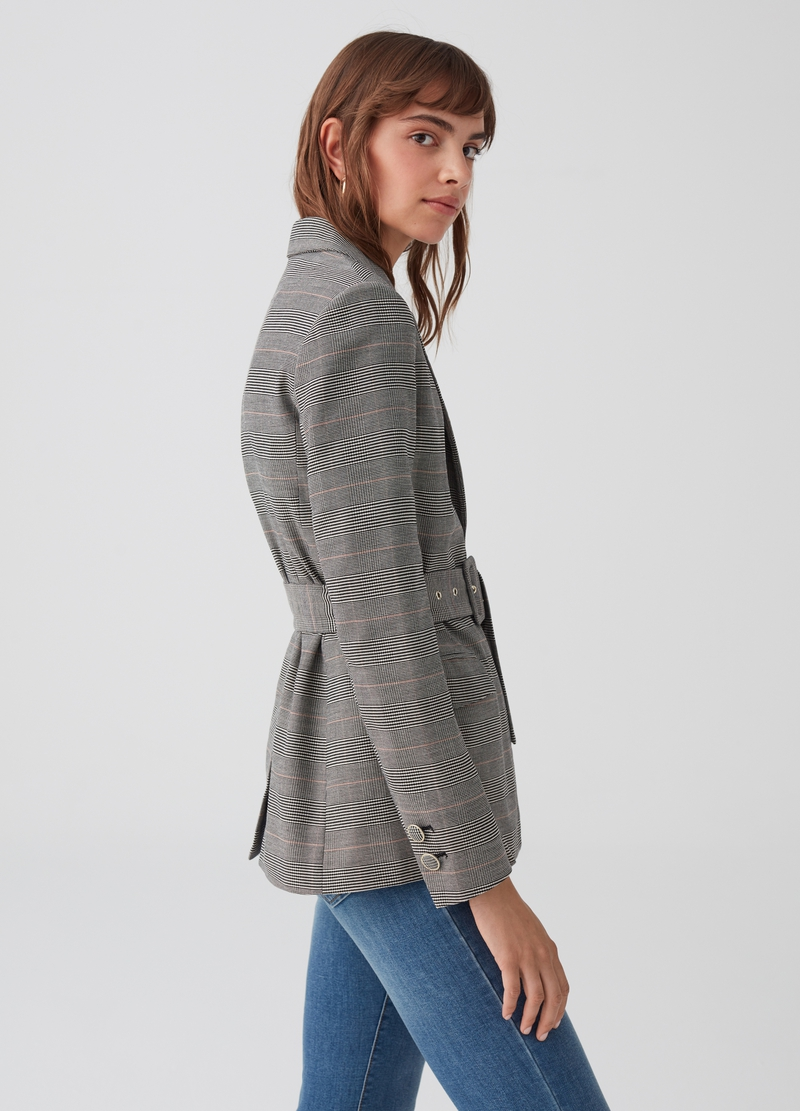 Stretch blazer with check belt image number null