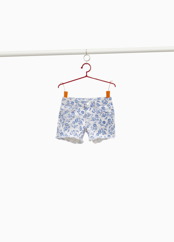 Stretch cotton shorts with floral fringing