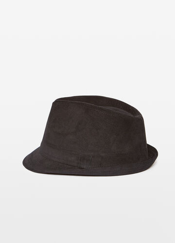 Narrow-brim hat with striped weave