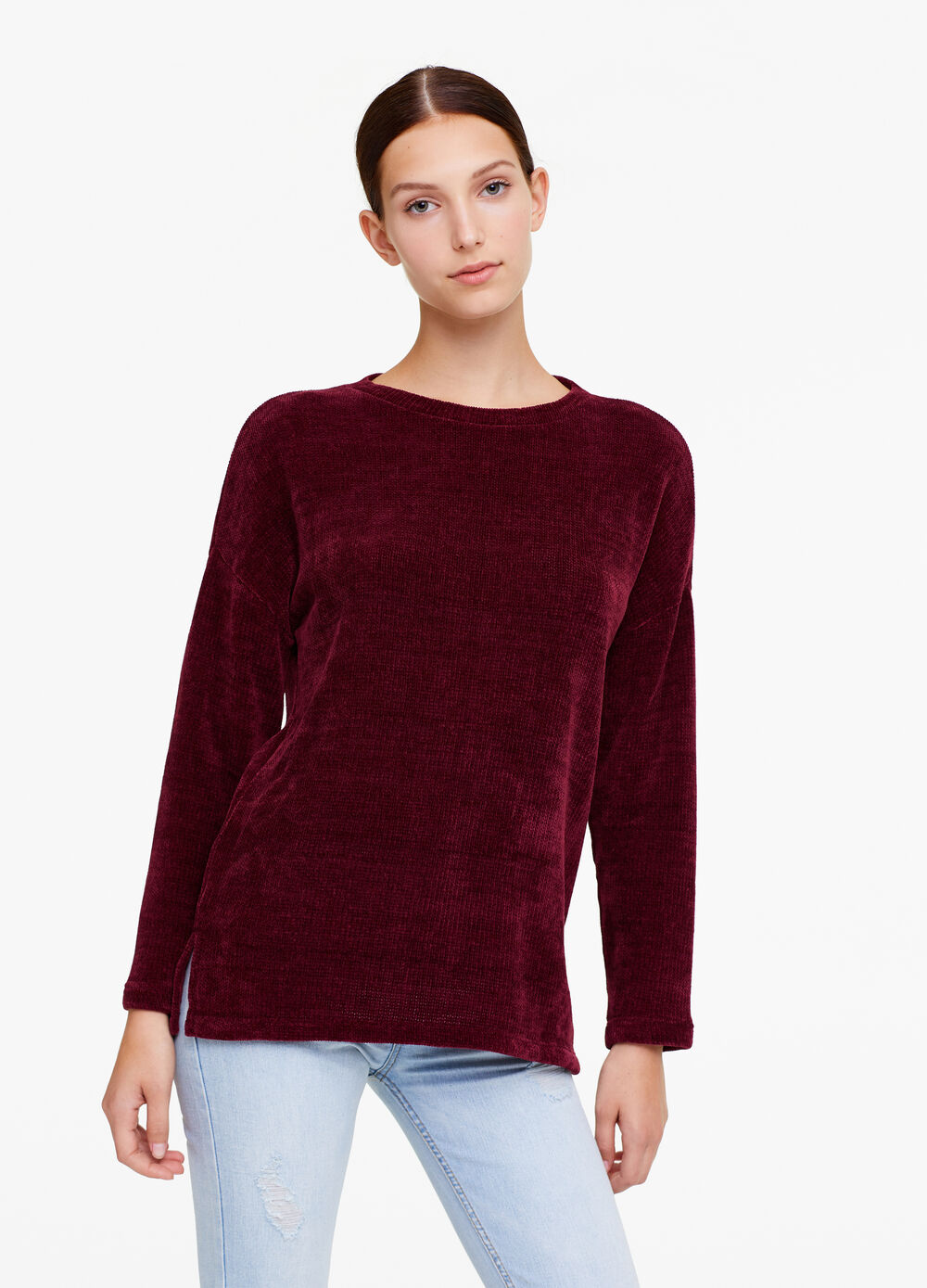 Chenille T-shirt with long sleeves