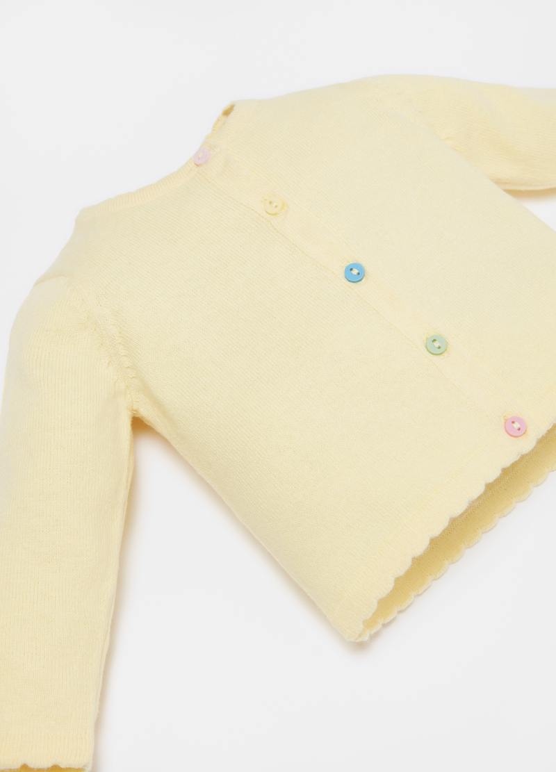 Cardigan in 100% cotton with multicoloured buttons image number null