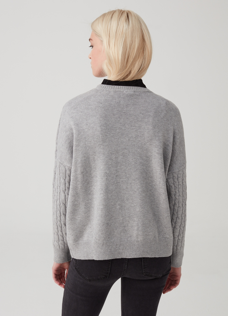 Viscose blend pullover with braided weave image number null