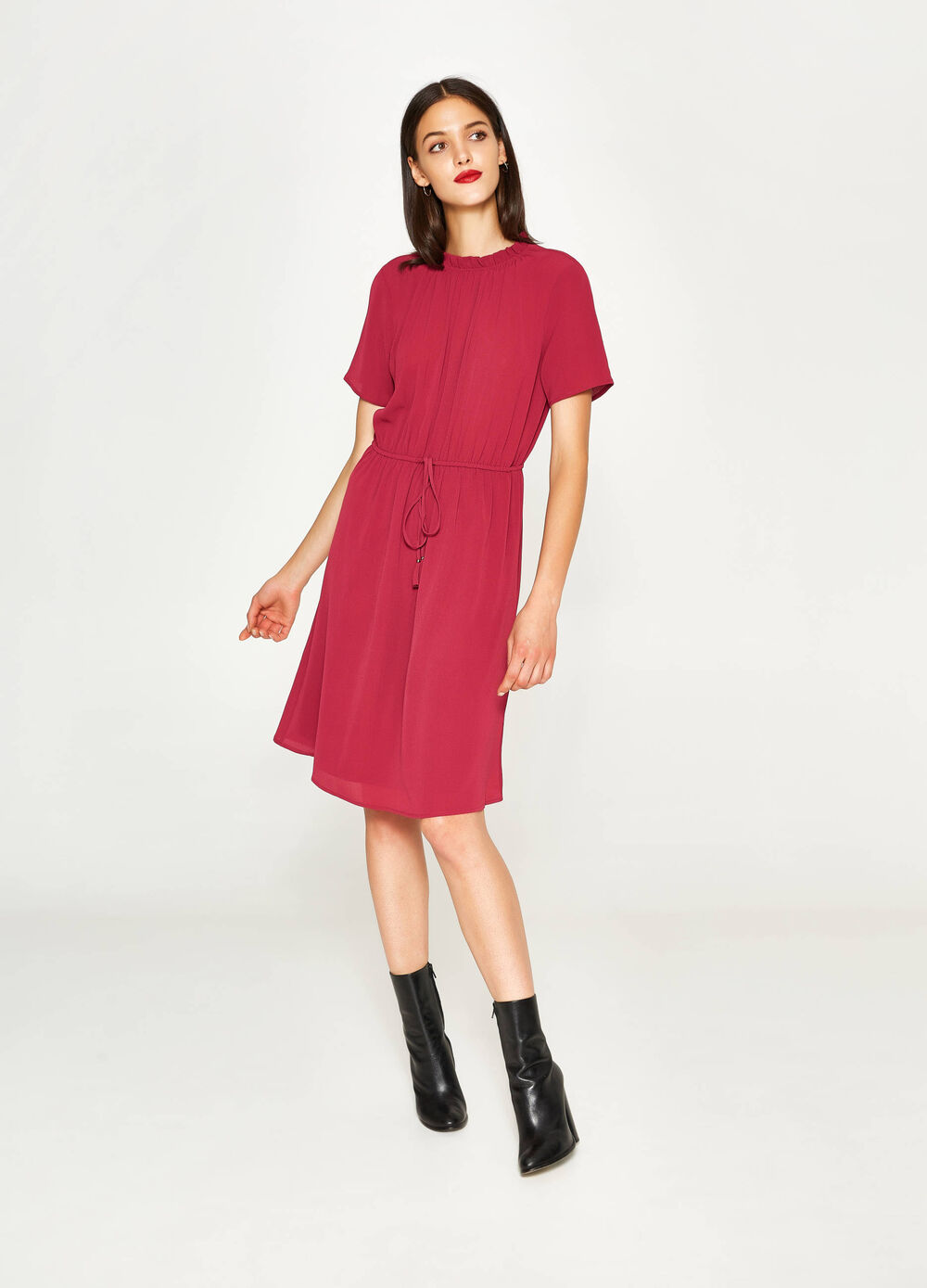 Stretch dress with drawstring