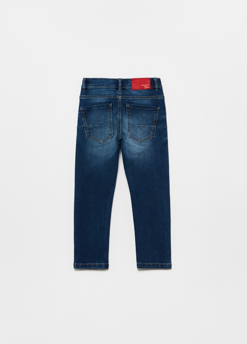 Jeans skinny effetto delavato con toppe image number null