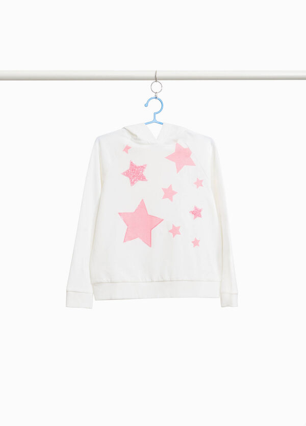 Sweatshirt with stars print and sequins