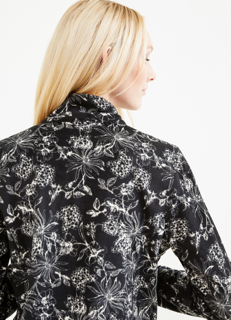 Fleece sweatshirt with floral pattern and zip image number null