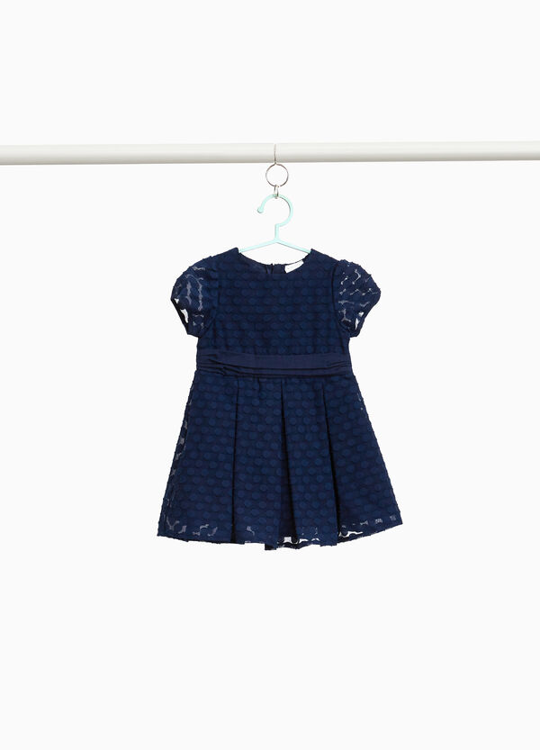 Jacquard dress with polka dot weave