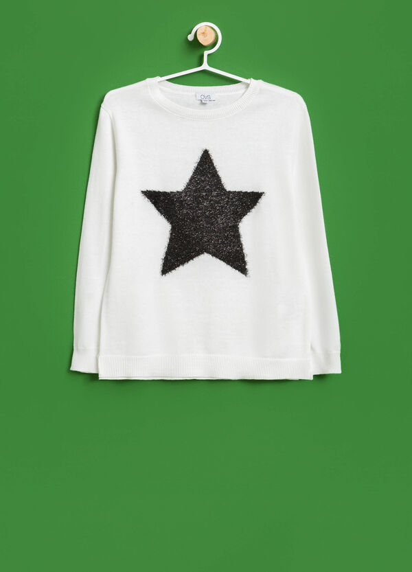 Knitted cotton star pullover | OVS